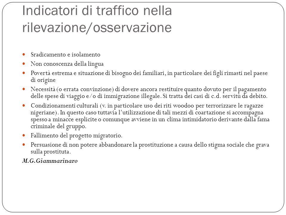 Indicatori di traffico nella rilevazione/osservazione Sradicamento e isolamento Non conoscenza della lingua Povertà estrema e situazione di bisogno de