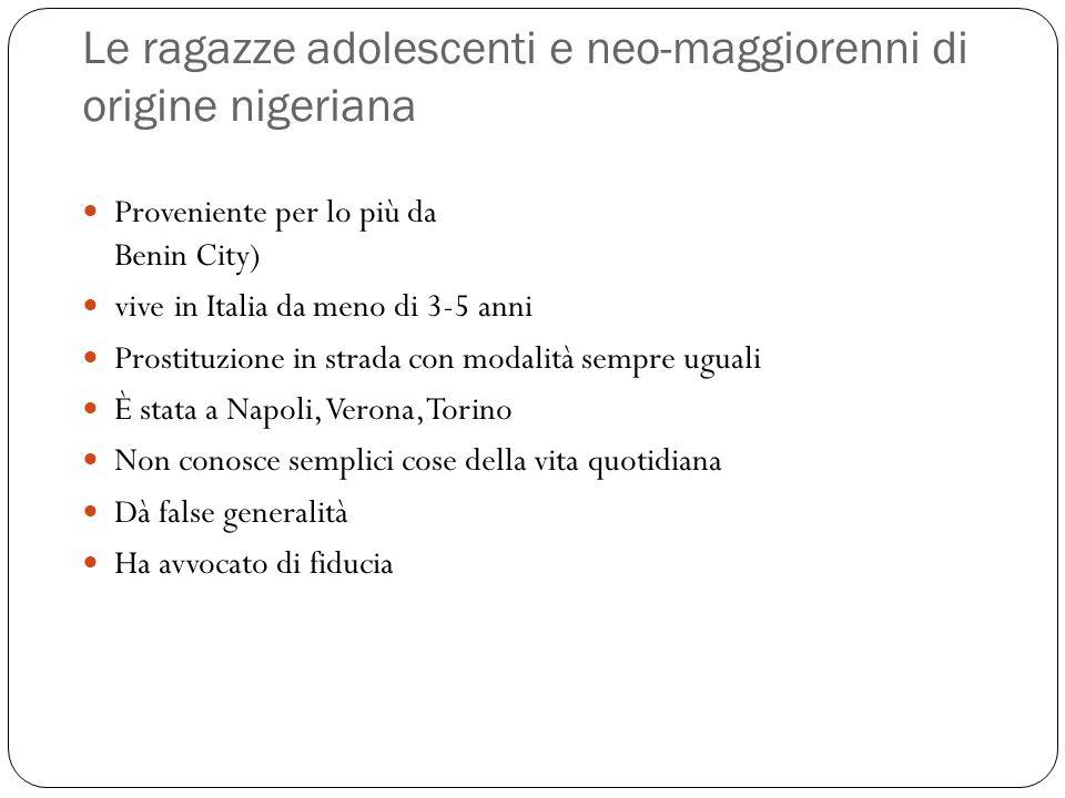 Le ragazze adolescenti e neo-maggiorenni di origine nigeriana Proveniente per lo più da Benin City) vive in Italia da meno di 3-5 anni Prostituzione i