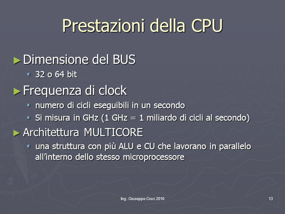 Ing. Giuseppe Cisci 201013 Prestazioni della CPU ► Dimensione del BUS  32 o 64 bit ► Frequenza di clock  numero di cicli eseguibili in un secondo 