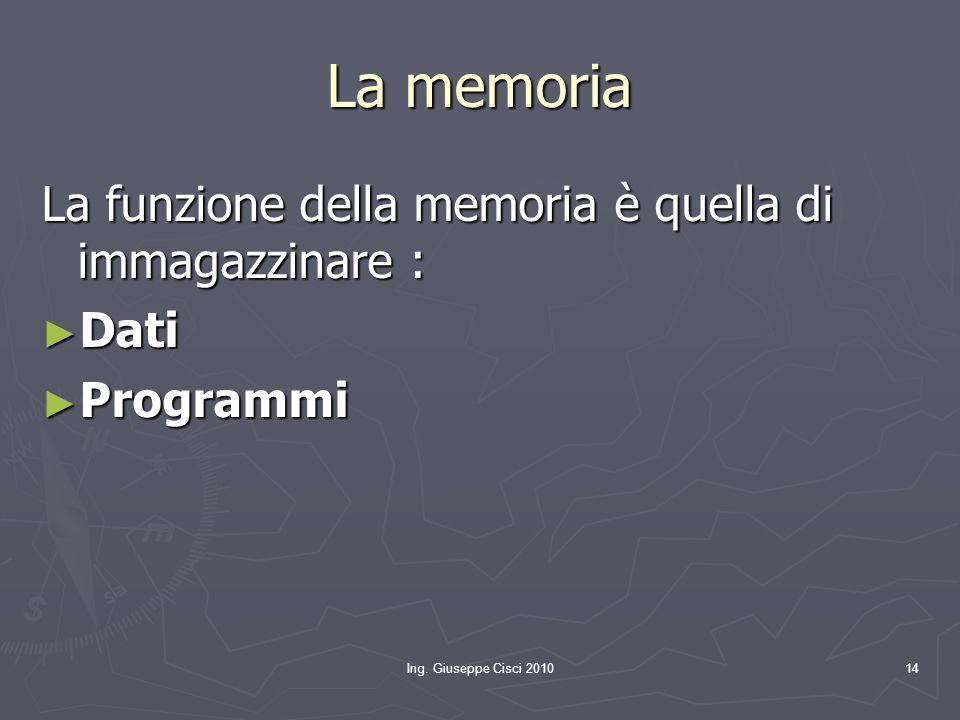 Ing. Giuseppe Cisci 201014 La memoria La funzione della memoria è quella di immagazzinare : ► Dati ► Programmi
