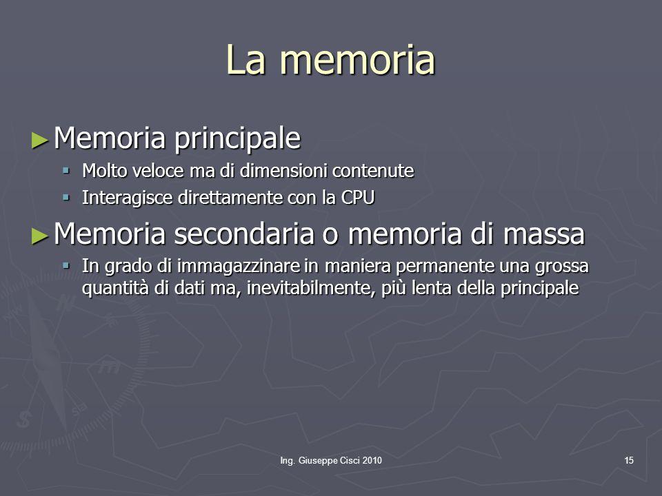 Ing. Giuseppe Cisci 201015 La memoria ► Memoria principale  Molto veloce ma di dimensioni contenute  Interagisce direttamente con la CPU ► Memoria s