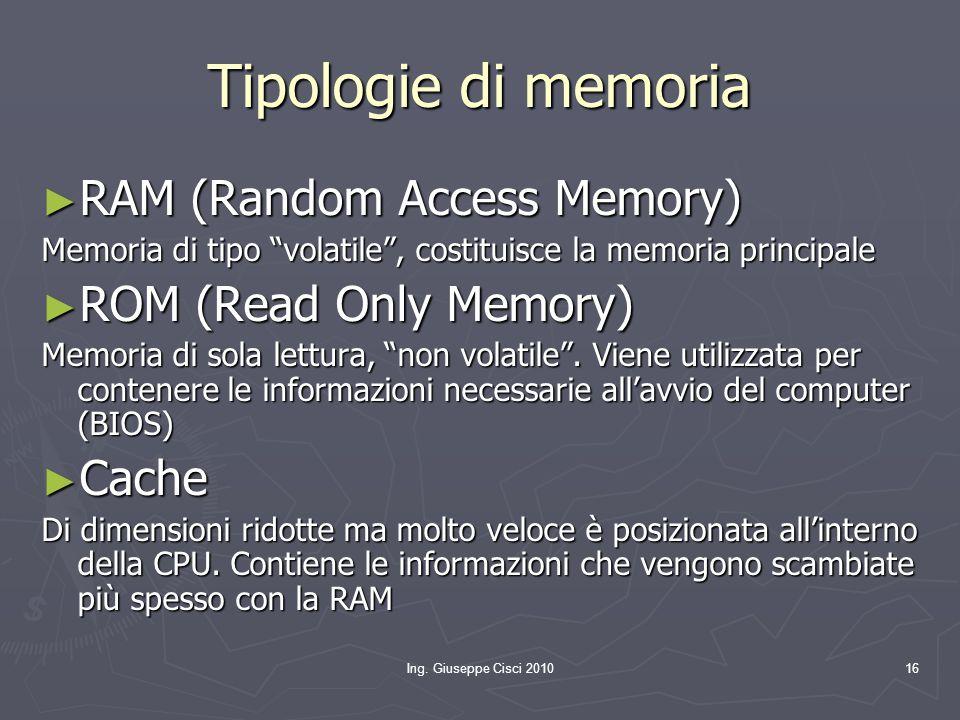 """Ing. Giuseppe Cisci 201016 Tipologie di memoria ► RAM (Random Access Memory) Memoria di tipo """"volatile"""", costituisce la memoria principale ► ROM (Read"""