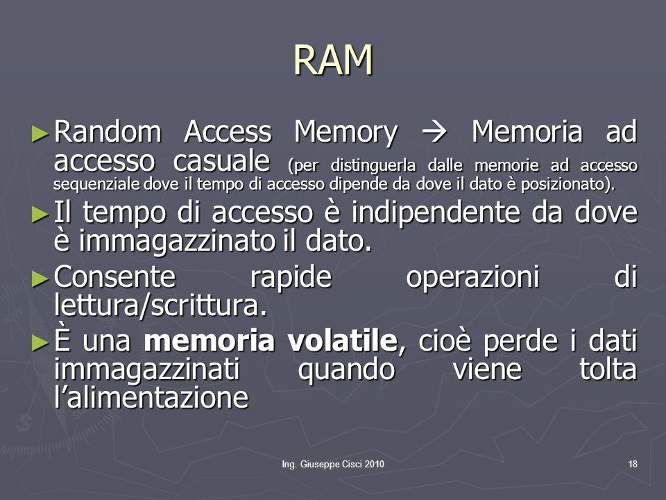 Ing. Giuseppe Cisci 201018 RAM ► Random Access Memory  Memoria ad accesso casuale (per distinguerla dalle memorie ad accesso sequenziale dove il temp