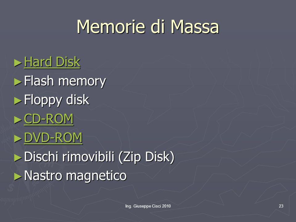 Ing. Giuseppe Cisci 201023 Memorie di Massa ► Hard Disk Hard Disk Hard Disk ► Flash memory ► Floppy disk ► CD-ROM CD-ROM ► DVD-ROM DVD-ROM ► Dischi ri