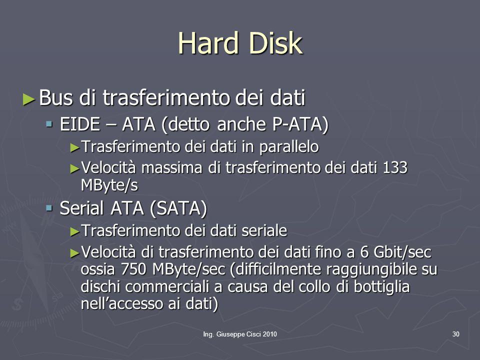 Ing. Giuseppe Cisci 201030 Hard Disk ► Bus di trasferimento dei dati  EIDE – ATA (detto anche P-ATA) ► Trasferimento dei dati in parallelo ► Velocità