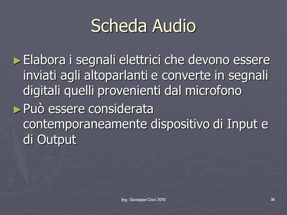 Ing. Giuseppe Cisci 201036 Scheda Audio ► Elabora i segnali elettrici che devono essere inviati agli altoparlanti e converte in segnali digitali quell