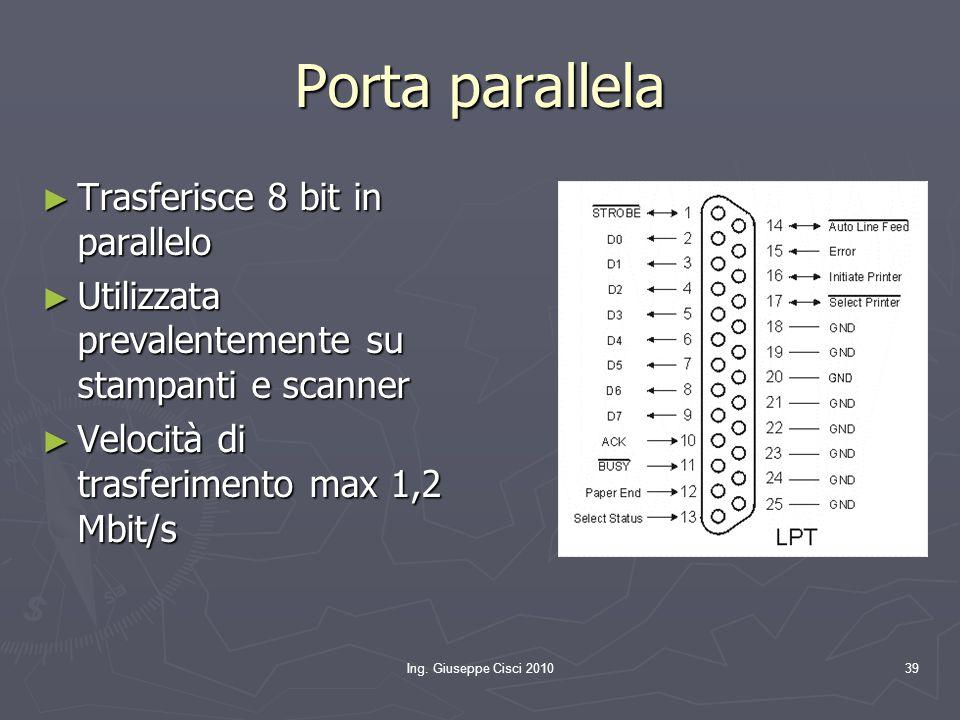 Ing. Giuseppe Cisci 201039 Porta parallela ► Trasferisce 8 bit in parallelo ► Utilizzata prevalentemente su stampanti e scanner ► Velocità di trasferi