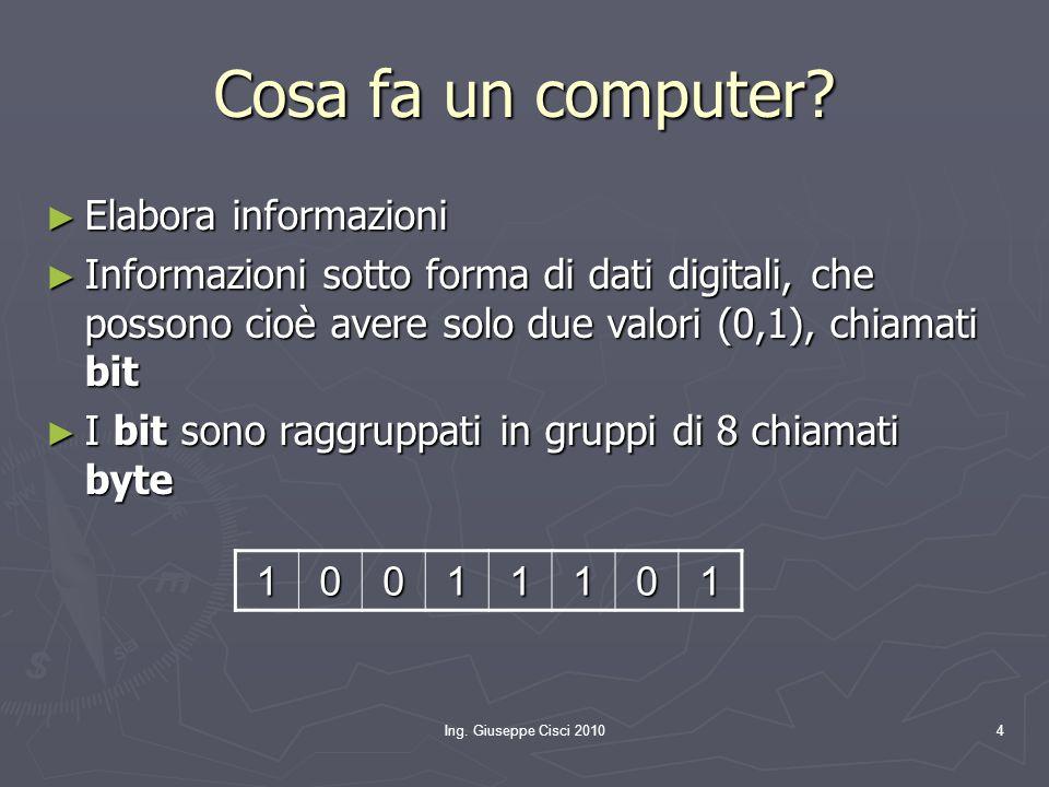 Ing. Giuseppe Cisci 20104 Cosa fa un computer? ► Elabora informazioni ► Informazioni sotto forma di dati digitali, che possono cioè avere solo due val