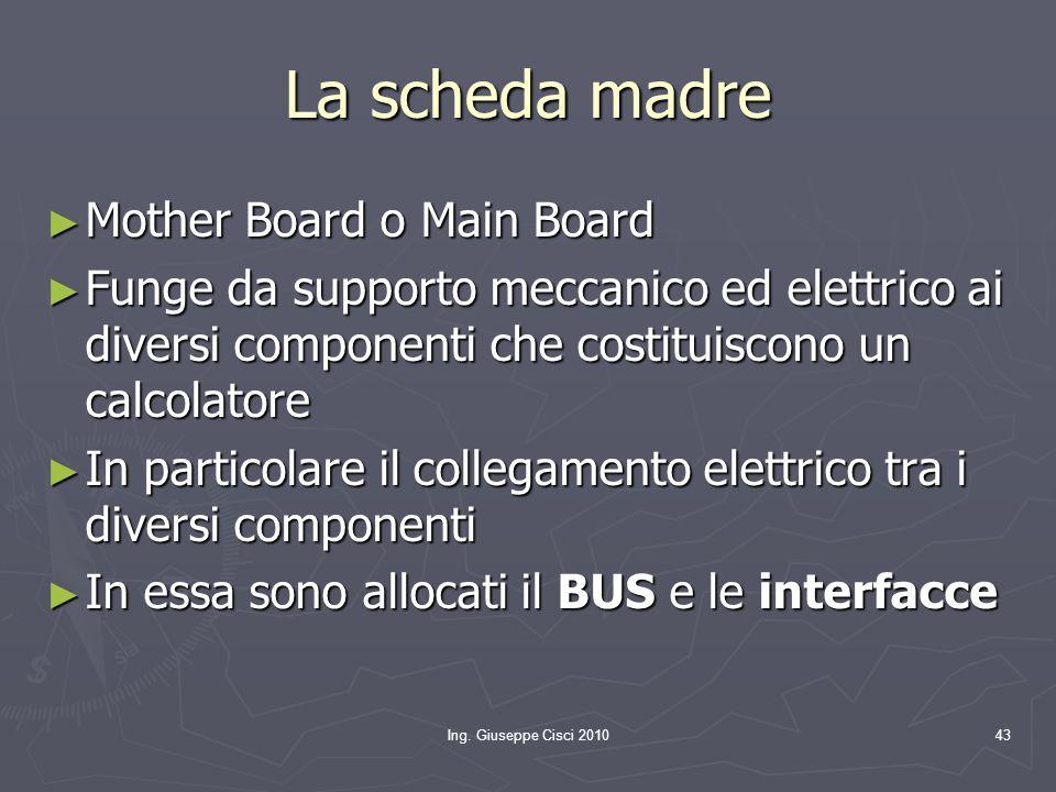 Ing. Giuseppe Cisci 201043 La scheda madre ► Mother Board o Main Board ► Funge da supporto meccanico ed elettrico ai diversi componenti che costituisc
