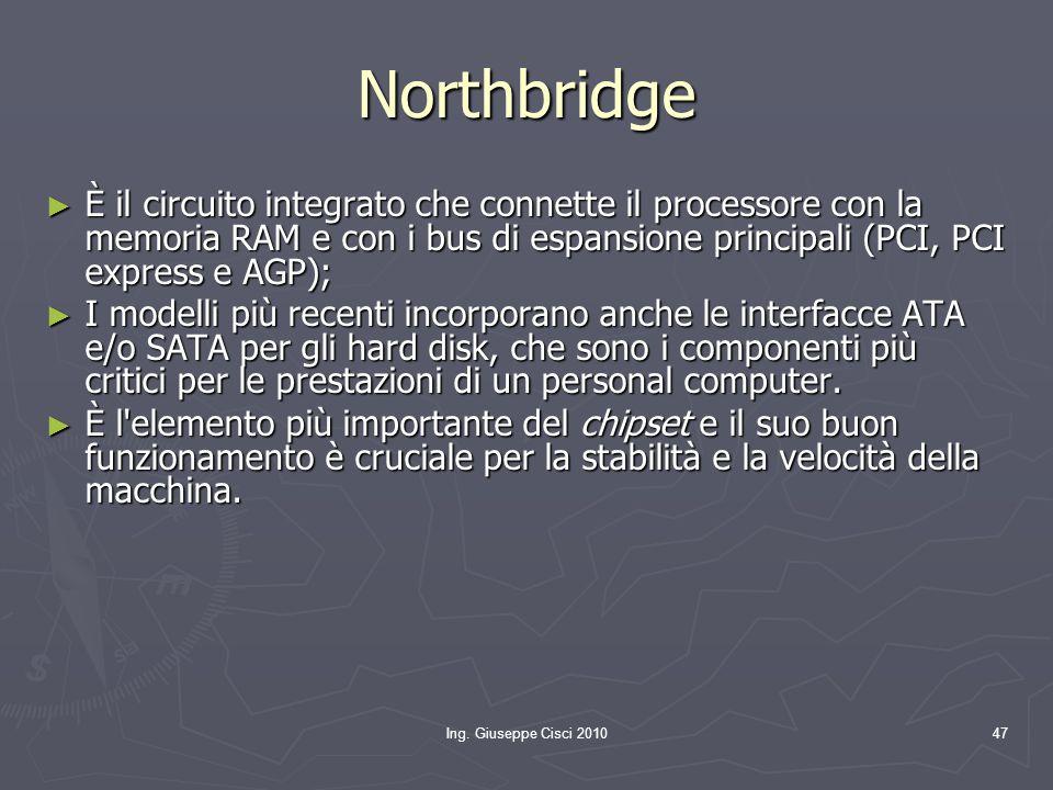 Ing. Giuseppe Cisci 201047 Northbridge ► È il circuito integrato che connette il processore con la memoria RAM e con i bus di espansione principali (P