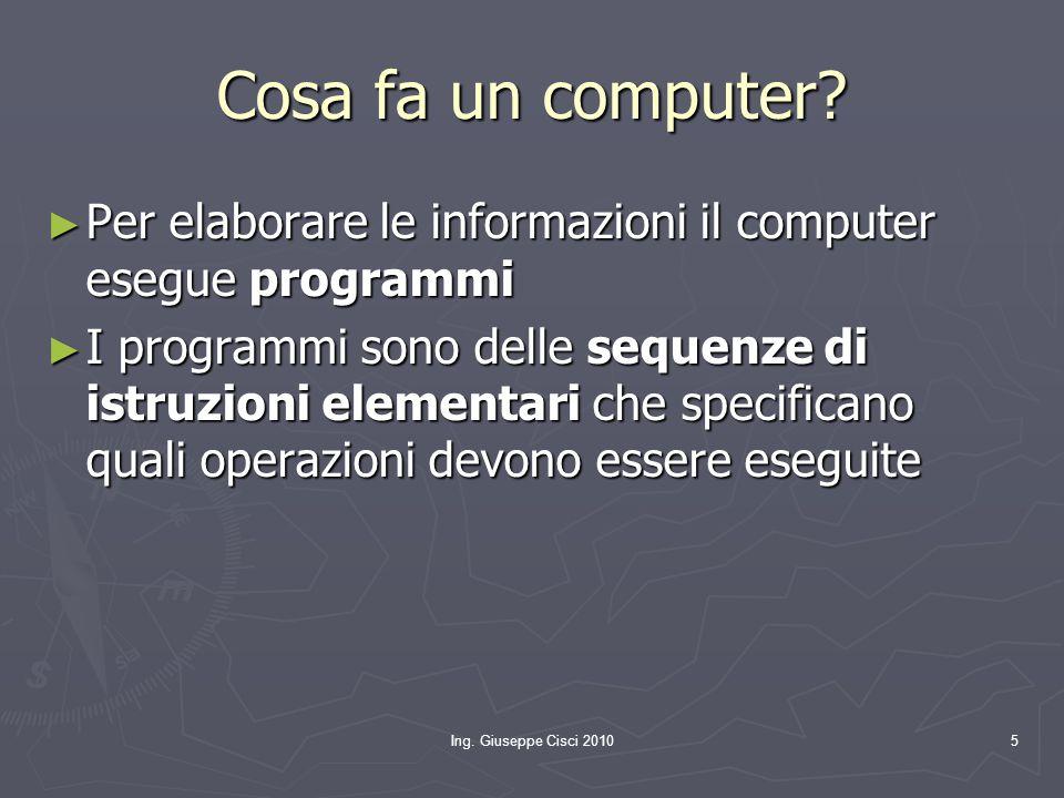 Ing. Giuseppe Cisci 20105 Cosa fa un computer? ► Per elaborare le informazioni il computer esegue programmi ► I programmi sono delle sequenze di istru