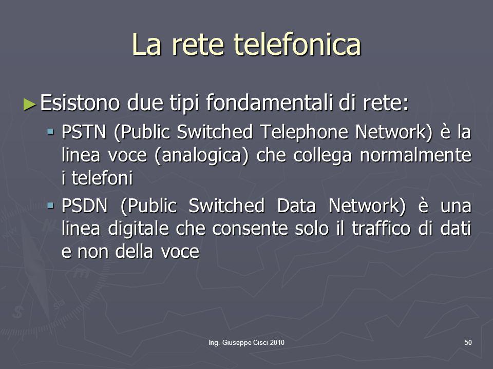 Ing. Giuseppe Cisci 201050 La rete telefonica ► Esistono due tipi fondamentali di rete:  PSTN (Public Switched Telephone Network) è la linea voce (an