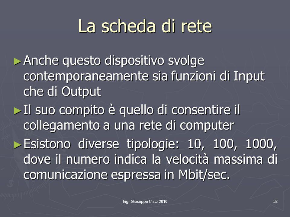 Ing. Giuseppe Cisci 201052 La scheda di rete ► Anche questo dispositivo svolge contemporaneamente sia funzioni di Input che di Output ► Il suo compito