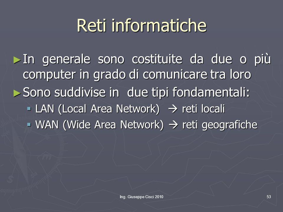Ing. Giuseppe Cisci 201053 Reti informatiche ► In generale sono costituite da due o più computer in grado di comunicare tra loro ► Sono suddivise in d