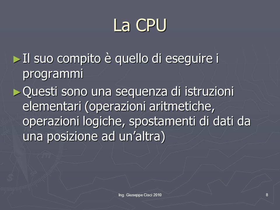 Ing. Giuseppe Cisci 20108 La CPU ► Il suo compito è quello di eseguire i programmi ► Questi sono una sequenza di istruzioni elementari (operazioni ari