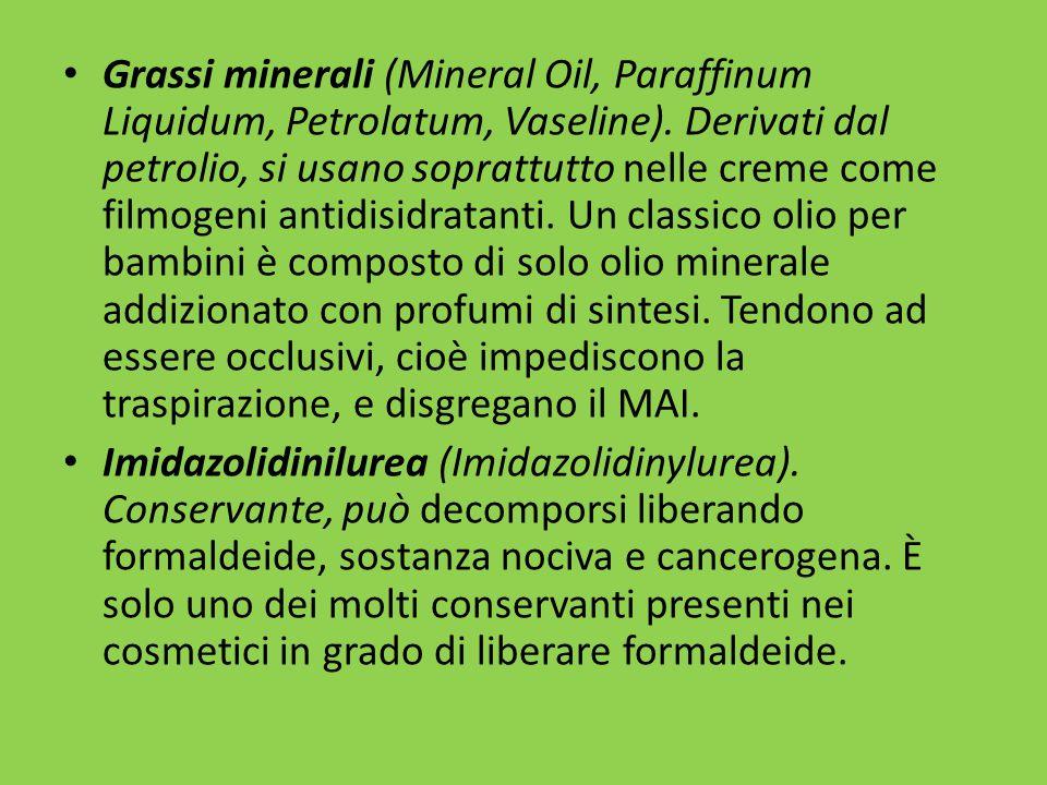 Grassi minerali (Mineral Oil, Paraffinum Liquidum, Petrolatum, Vaseline).