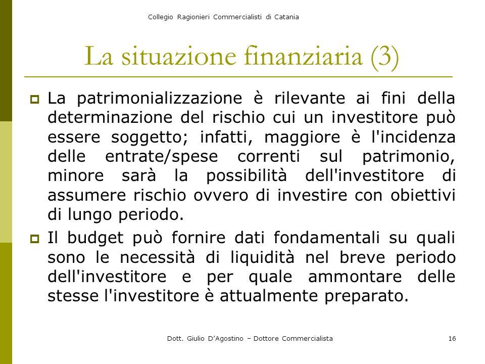 Collegio Ragionieri Commercialisti di Catania Dott. Giulio D'Agostino – Dottore Commercialista16 La situazione finanziaria (3)  La patrimonializzazio