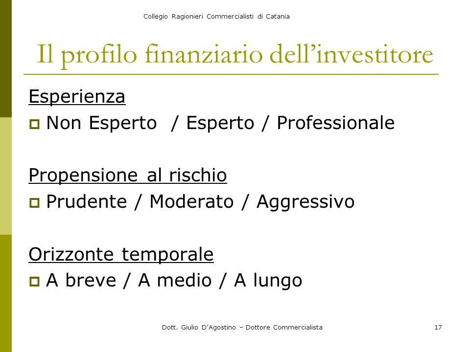 Collegio Ragionieri Commercialisti di Catania Dott. Giulio D'Agostino – Dottore Commercialista17 Il profilo finanziario dell'investitore Esperienza 