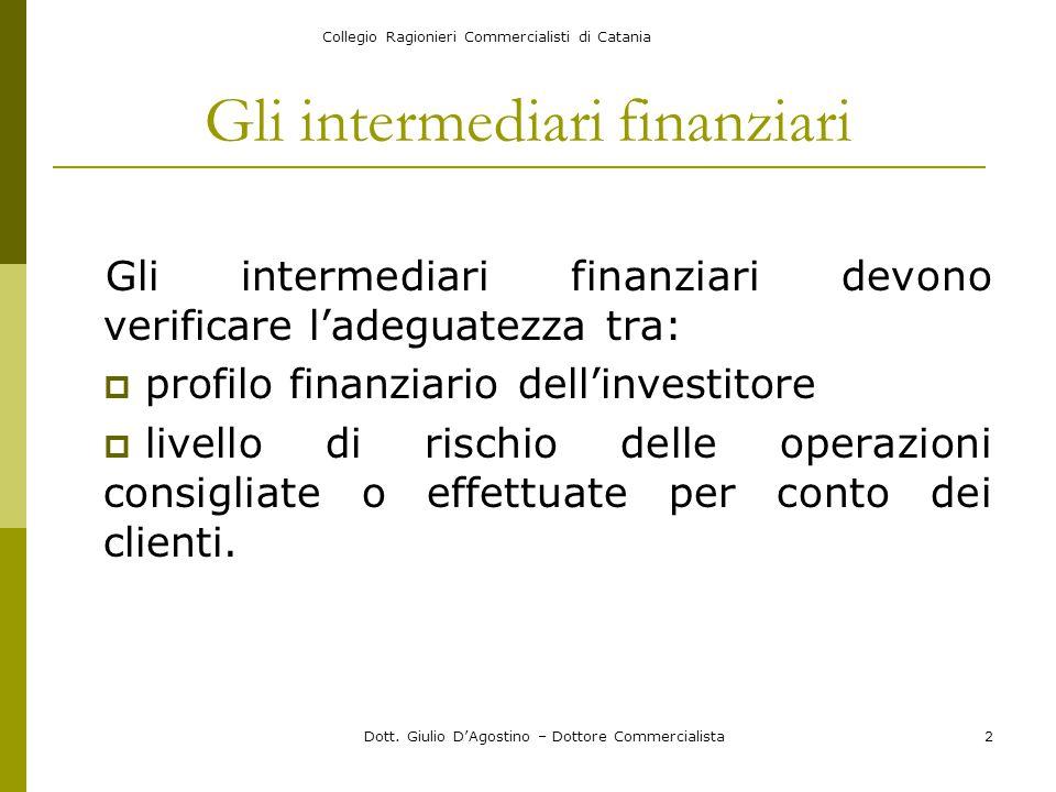 Collegio Ragionieri Commercialisti di Catania Dott. Giulio D'Agostino – Dottore Commercialista2 Gli intermediari finanziari Gli intermediari finanziar