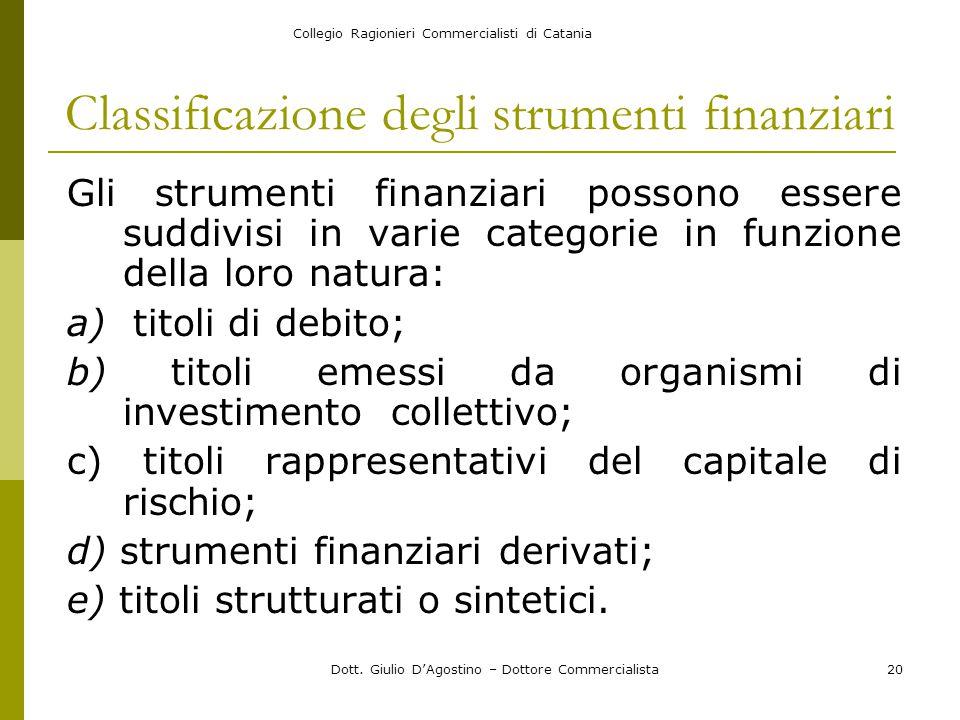 Collegio Ragionieri Commercialisti di Catania Dott. Giulio D'Agostino – Dottore Commercialista20 Classificazione degli strumenti finanziari Gli strume