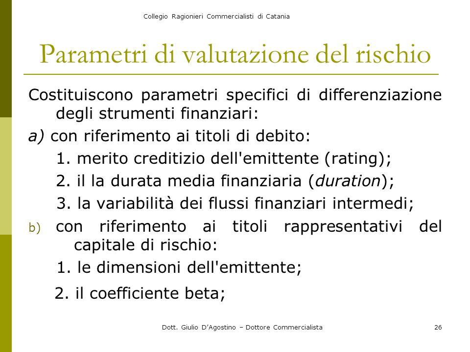 Collegio Ragionieri Commercialisti di Catania Dott. Giulio D'Agostino – Dottore Commercialista26 Parametri di valutazione del rischio Costituiscono pa