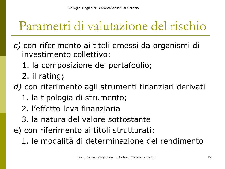 Collegio Ragionieri Commercialisti di Catania Dott. Giulio D'Agostino – Dottore Commercialista27 Parametri di valutazione del rischio c) con riferimen