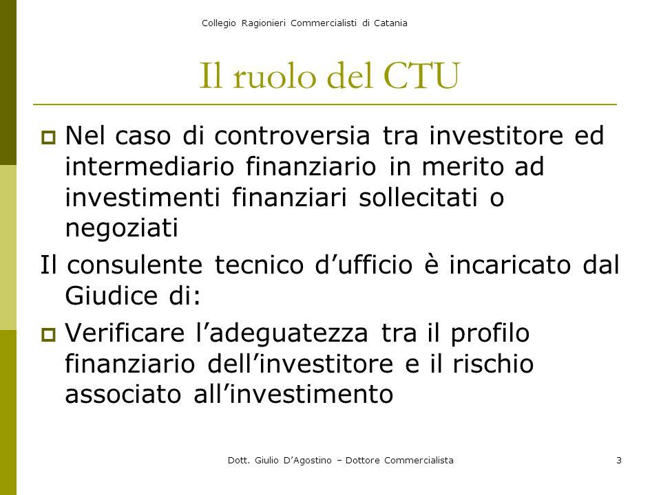 Collegio Ragionieri Commercialisti di Catania Dott. Giulio D'Agostino – Dottore Commercialista3 Il ruolo del CTU  Nel caso di controversia tra invest