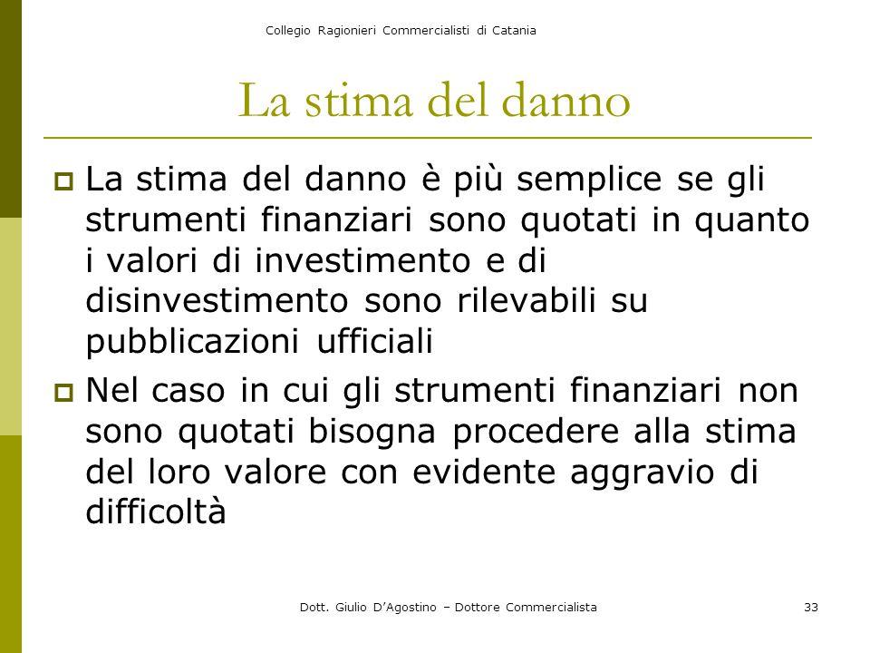 Collegio Ragionieri Commercialisti di Catania Dott. Giulio D'Agostino – Dottore Commercialista33 La stima del danno  La stima del danno è più semplic