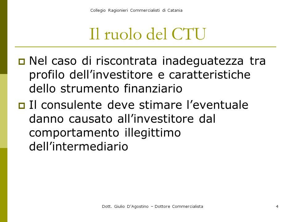Collegio Ragionieri Commercialisti di Catania Dott. Giulio D'Agostino – Dottore Commercialista4 Il ruolo del CTU  Nel caso di riscontrata inadeguatez