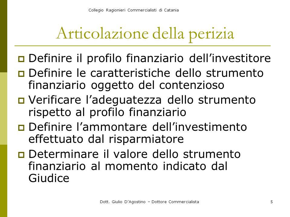 Collegio Ragionieri Commercialisti di Catania Dott. Giulio D'Agostino – Dottore Commercialista5 Articolazione della perizia  Definire il profilo fina