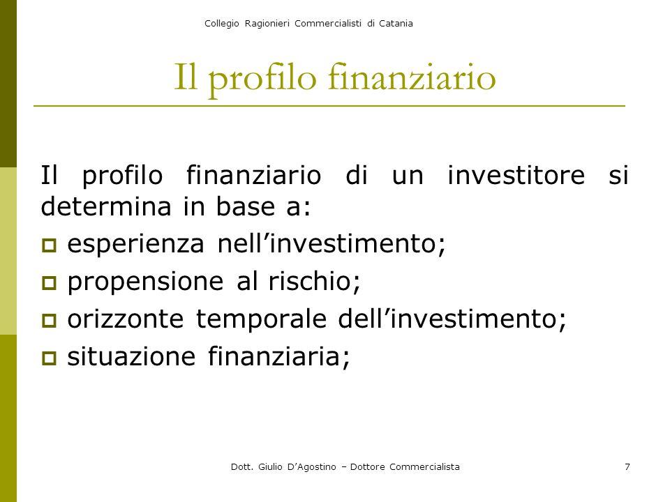 Collegio Ragionieri Commercialisti di Catania Dott. Giulio D'Agostino – Dottore Commercialista7 Il profilo finanziario Il profilo finanziario di un in