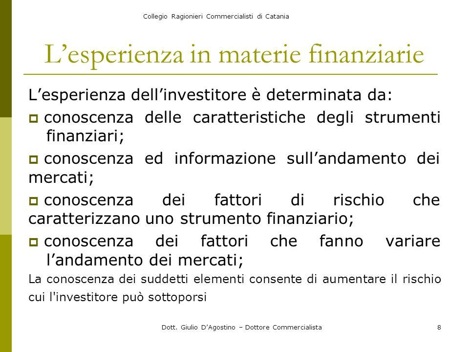 Collegio Ragionieri Commercialisti di Catania Dott. Giulio D'Agostino – Dottore Commercialista8 L'esperienza in materie finanziarie L'esperienza dell'