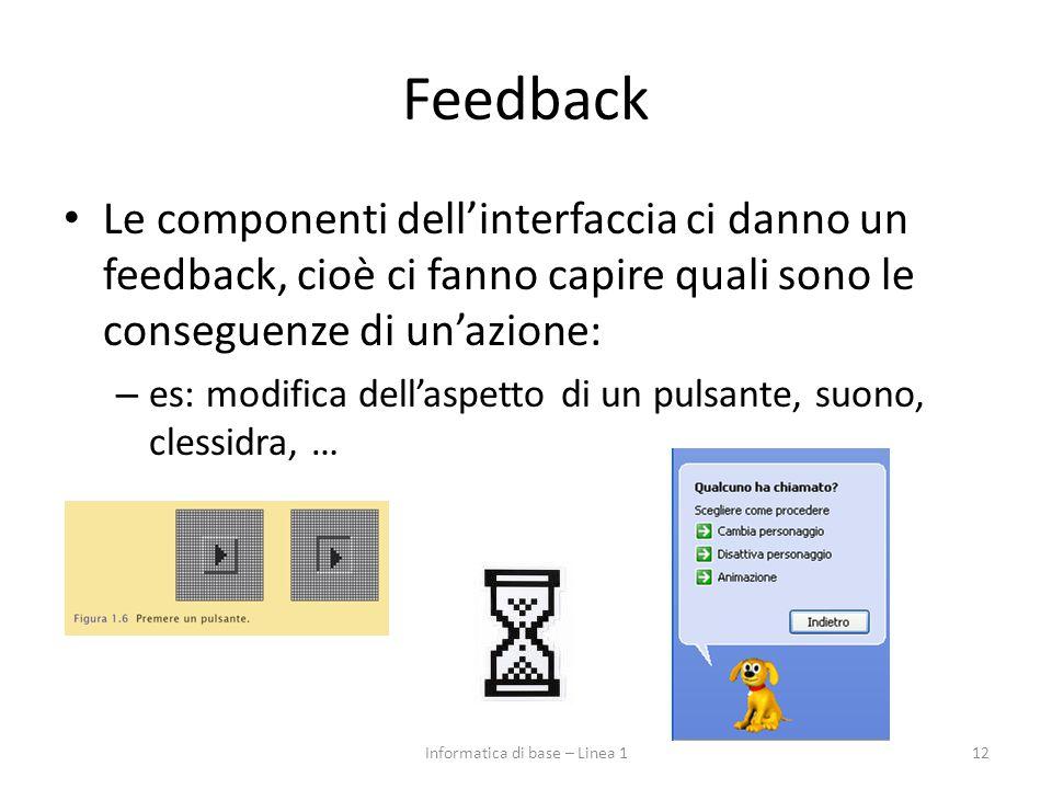 Feedback Le componenti dell'interfaccia ci danno un feedback, cioè ci fanno capire quali sono le conseguenze di un'azione: – es: modifica dell'aspetto