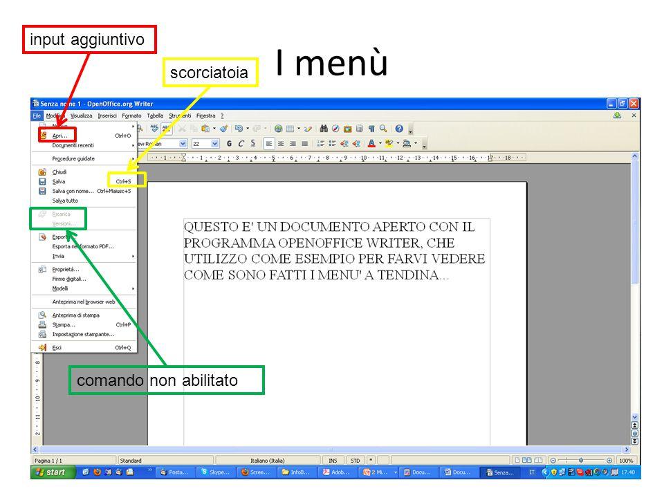 I menù 14Informatica di base – Linea 1 scorciatoia comando non abilitato input aggiuntivo