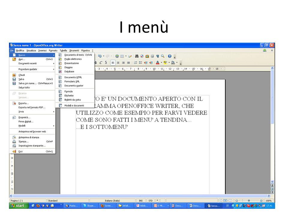 I menù 15Informatica di base – Linea 1