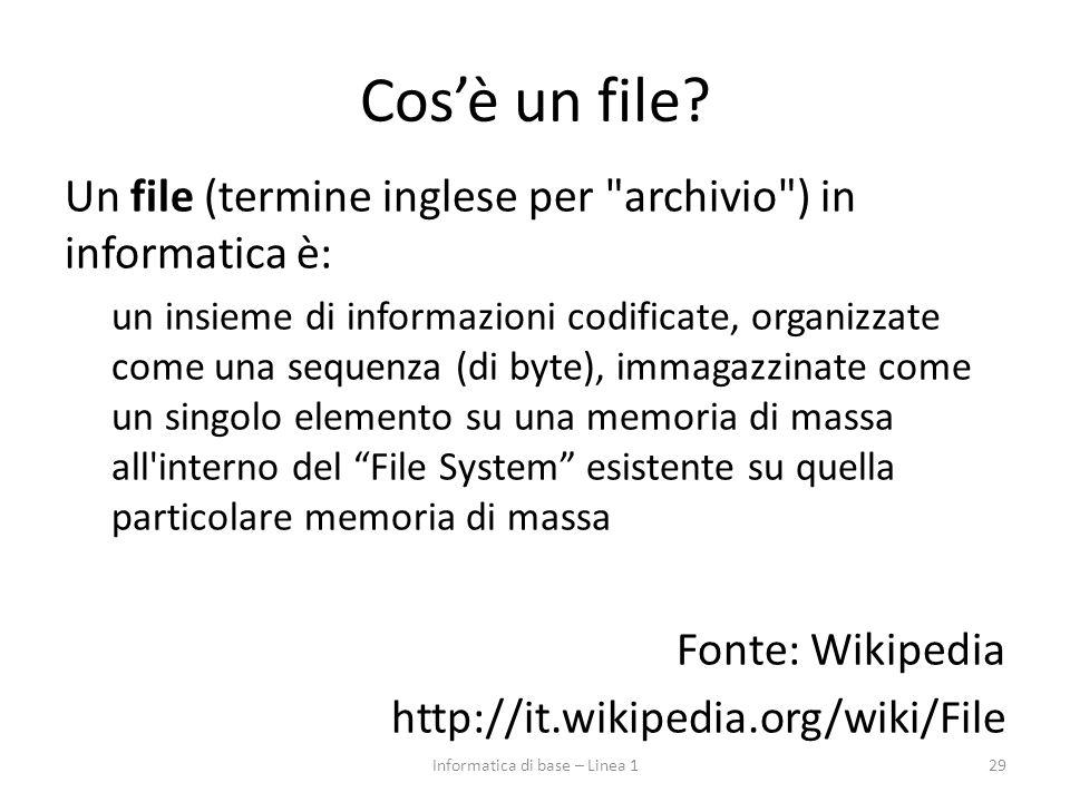 Cos'è un file? Un file (termine inglese per