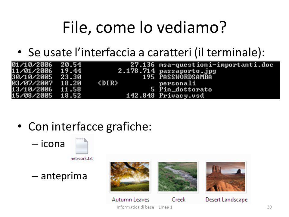 File, come lo vediamo? Se usate l'interfaccia a caratteri (il terminale): Con interfacce grafiche: – icona – anteprima 30Informatica di base – Linea 1