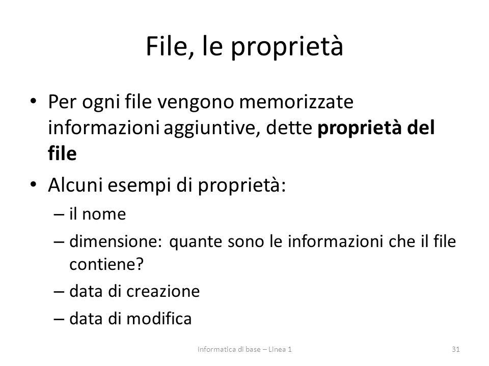 File, le proprietà Per ogni file vengono memorizzate informazioni aggiuntive, dette proprietà del file Alcuni esempi di proprietà: – il nome – dimensi