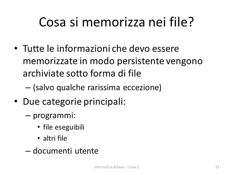 Cosa si memorizza nei file? Tutte le informazioni che devo essere memorizzate in modo persistente vengono archiviate sotto forma di file – (salvo qual