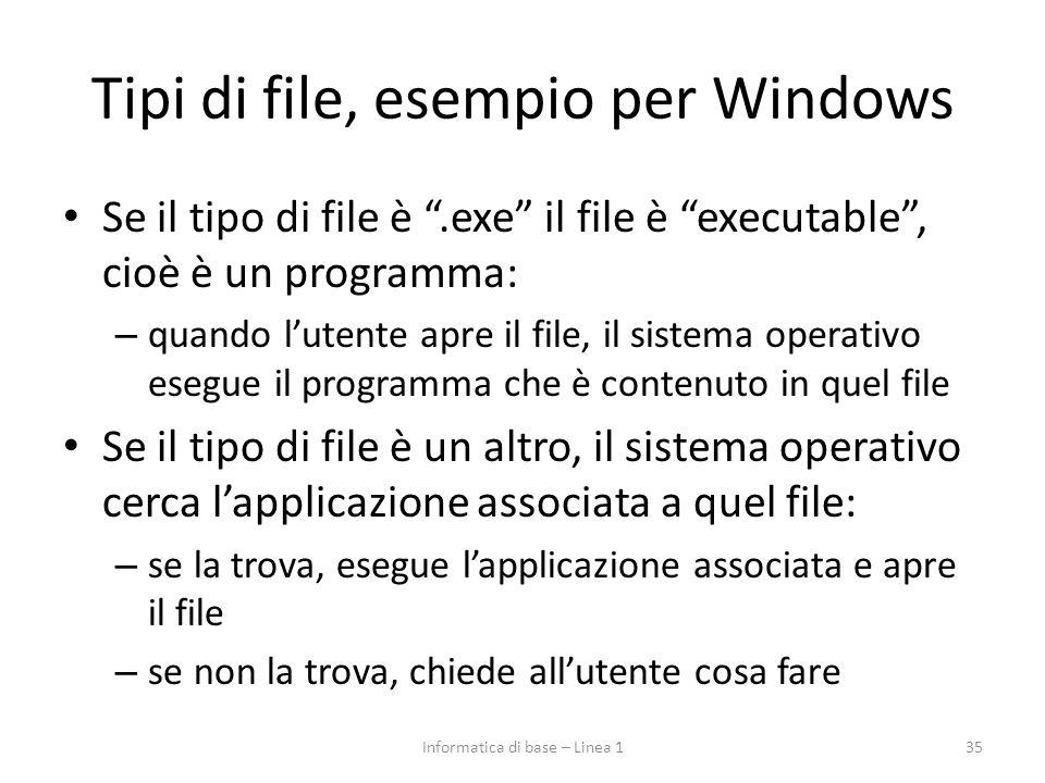 """Tipi di file, esempio per Windows Se il tipo di file è """".exe"""" il file è """"executable"""", cioè è un programma: – quando l'utente apre il file, il sistema"""