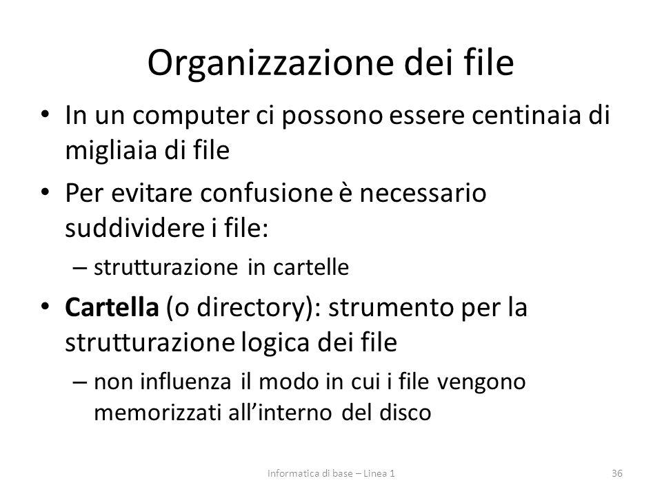 Organizzazione dei file In un computer ci possono essere centinaia di migliaia di file Per evitare confusione è necessario suddividere i file: – strut