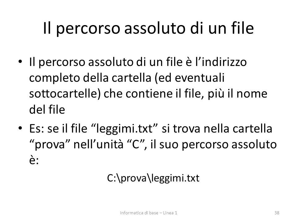 Il percorso assoluto di un file Il percorso assoluto di un file è l'indirizzo completo della cartella (ed eventuali sottocartelle) che contiene il fil
