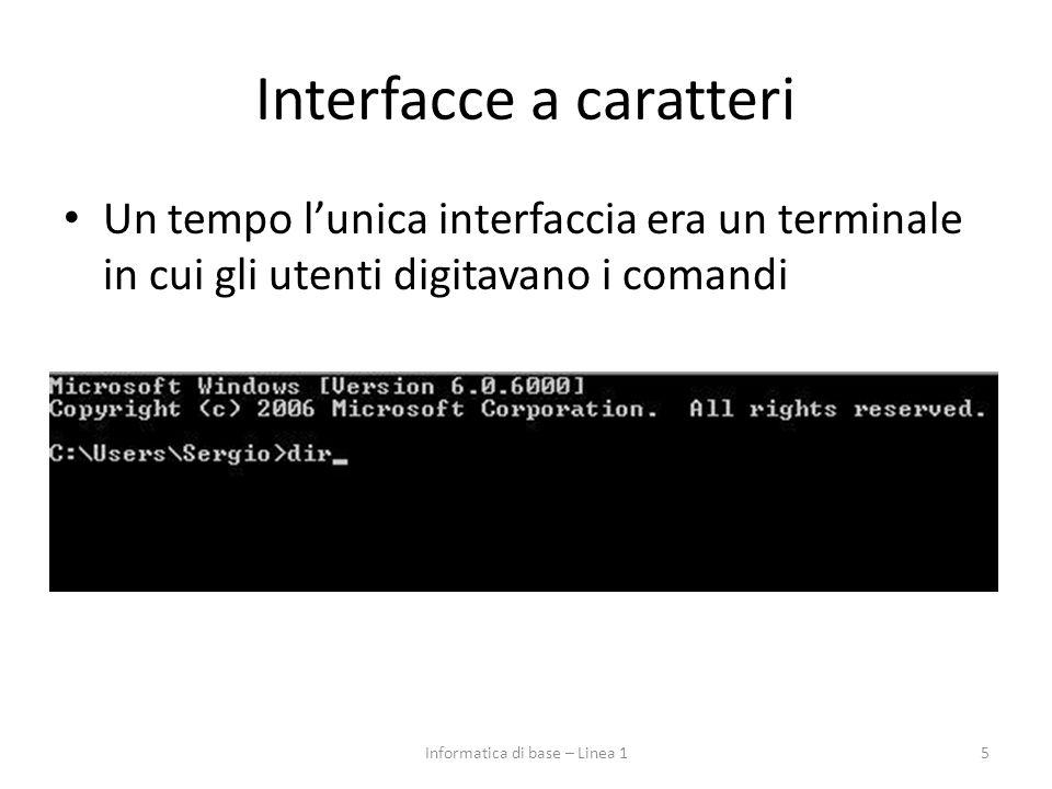 Interfacce a caratteri Un tempo l'unica interfaccia era un terminale in cui gli utenti digitavano i comandi 5Informatica di base – Linea 1