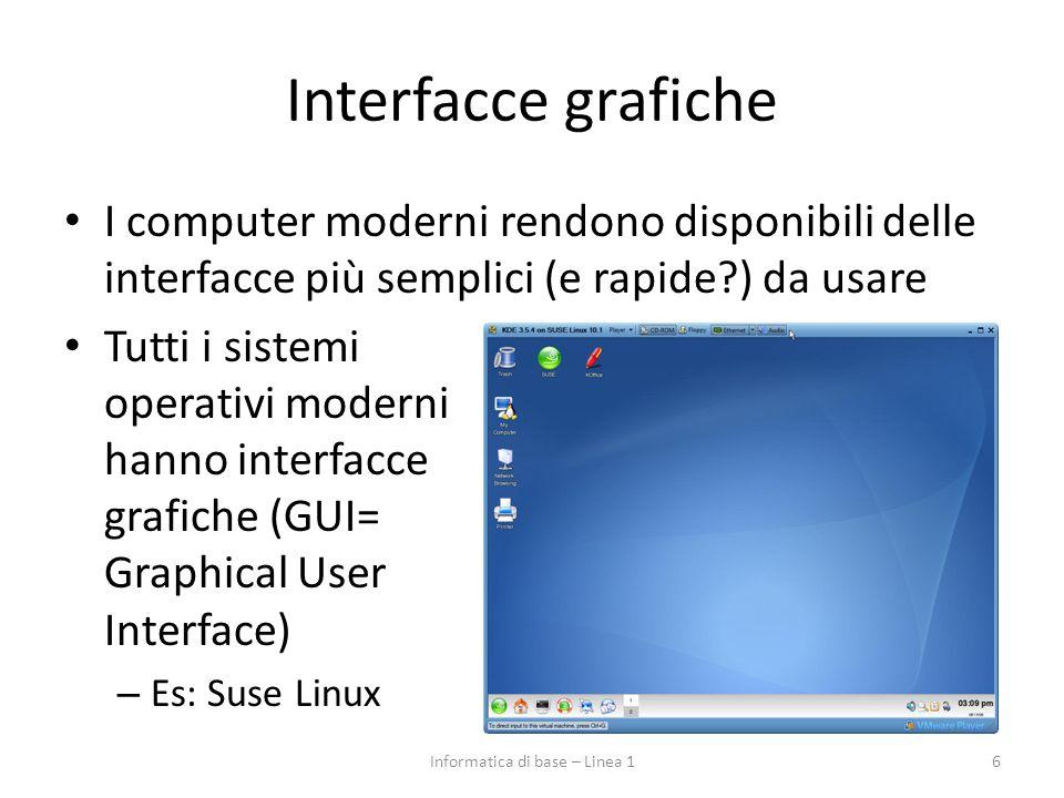 Interfacce grafiche I computer moderni rendono disponibili delle interfacce più semplici (e rapide?) da usare Tutti i sistemi operativi moderni hanno