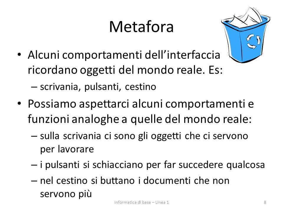 Metafora Alcuni comportamenti dell'interfaccia ricordano oggetti del mondo reale. Es: – scrivania, pulsanti, cestino Possiamo aspettarci alcuni compor