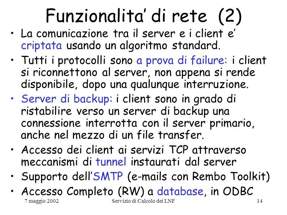 7 maggio 2002Servizio di Calcolo dei LNF14 Funzionalita' di rete (2) La comunicazione tra il server e i client e' criptata usando un algoritmo standard.