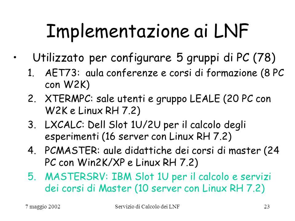 7 maggio 2002Servizio di Calcolo dei LNF23 Implementazione ai LNF Utilizzato per configurare 5 gruppi di PC (78) 1.AET73: aula conferenze e corsi di formazione (8 PC con W2K) 2.XTERMPC: sale utenti e gruppo LEALE (20 PC con W2K e Linux RH 7.2) 3.LXCALC: Dell Slot 1U/2U per il calcolo degli esperimenti (16 server con Linux RH 7.2) 4.PCMASTER: aule didattiche dei corsi di master (24 PC con Win2K/XP e Linux RH 7.2) 5.MASTERSRV: IBM Slot 1U per il calcolo e servizi dei corsi di Master (10 server con Linux RH 7.2)