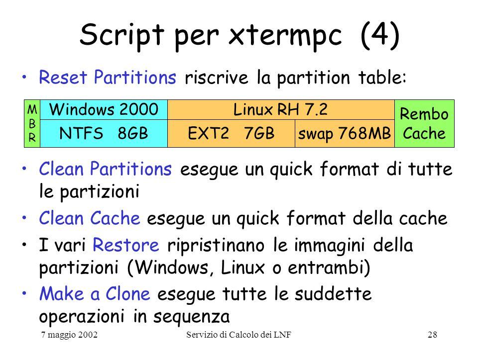 7 maggio 2002Servizio di Calcolo dei LNF28 Script per xtermpc (4) Reset Partitions riscrive la partition table: NTFS 8GBEXT2 7GBswap 768MB Windows 2000Linux RH 7.2 Rembo Cache MBRMBR Clean Partitions esegue un quick format di tutte le partizioni Clean Cache esegue un quick format della cache I vari Restore ripristinano le immagini della partizioni (Windows, Linux o entrambi) Make a Clone esegue tutte le suddette operazioni in sequenza