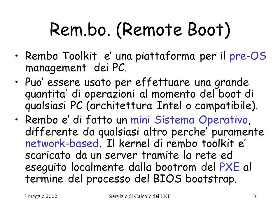 7 maggio 2002Servizio di Calcolo dei LNF24 Esempio (gruppo XTERMPC) Thin client utilizzati in sostituzione dei vecchi X- Terminal nelle sale terminali e come Personal Computers sulla scrivania di alcuni utenti: Hardware: MainBoard Asus A7VPRO chipset KT133 Cpu AMD Duron 800MHz RAM 256MB DIMM SDRAM Scheda Video ATI Xpert 2000 (pro) 32MB RAM Scheda Audio Creative SoundBlaster PCI 128 Scheda di rete 3Com 3C905C-TX (PXE) HD EIDE 20GB Floppy 1.44 CDROM 50x Tastiera USA, Mouse, Microfono Kit antifurto Monitor Philips flat 19 con Kit multimediale 3 anni di garanzia on-site Software: (dual boot) - Linux RedHat 7.2 completo openssh 3.1p1, iptable 1.2.5, afs client, etc.