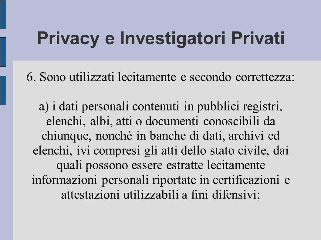Privacy e Investigatori Privati 6.
